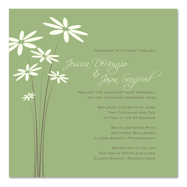 Flowers & Decor, Stationery, green, invitation, Garden Wedding Invitations, Invitations, Flower, Wedding, Bridal, Daisy, Shower, Simplyou design