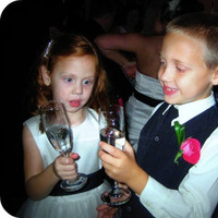 Reception, Flowers & Decor, pink, blue, Flower, Girl, Ring, Bearer, Toasting, Flutes