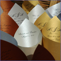 Ceremony, Inspiration, Flowers & Decor, white, yellow, orange, pink, red, purple, blue, green, brown, black, silver, gold, Board, Petal-cones, Petal toss, Favors by lisa