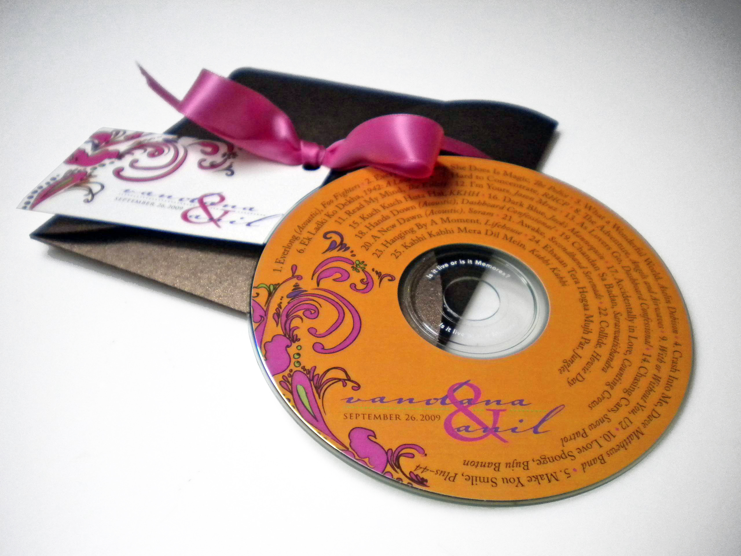 Reception, Flowers & Decor, Favors & Gifts, Stationery, orange, pink, purple, green, brown, gold, favor, Invitations, Wedding, Music, Cd, Ribbon, Tag, Simplyou design