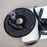 Reception, Flowers & Decor, Favors & Gifts, white, black, favor, Wedding, Music, Cd, Ribbon, Tag, Simplyou design