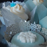 Reception, Flowers & Decor, Cakes, white, blue, silver, cake, Winter, Cupcakes, Wedding, Animated cupcakes