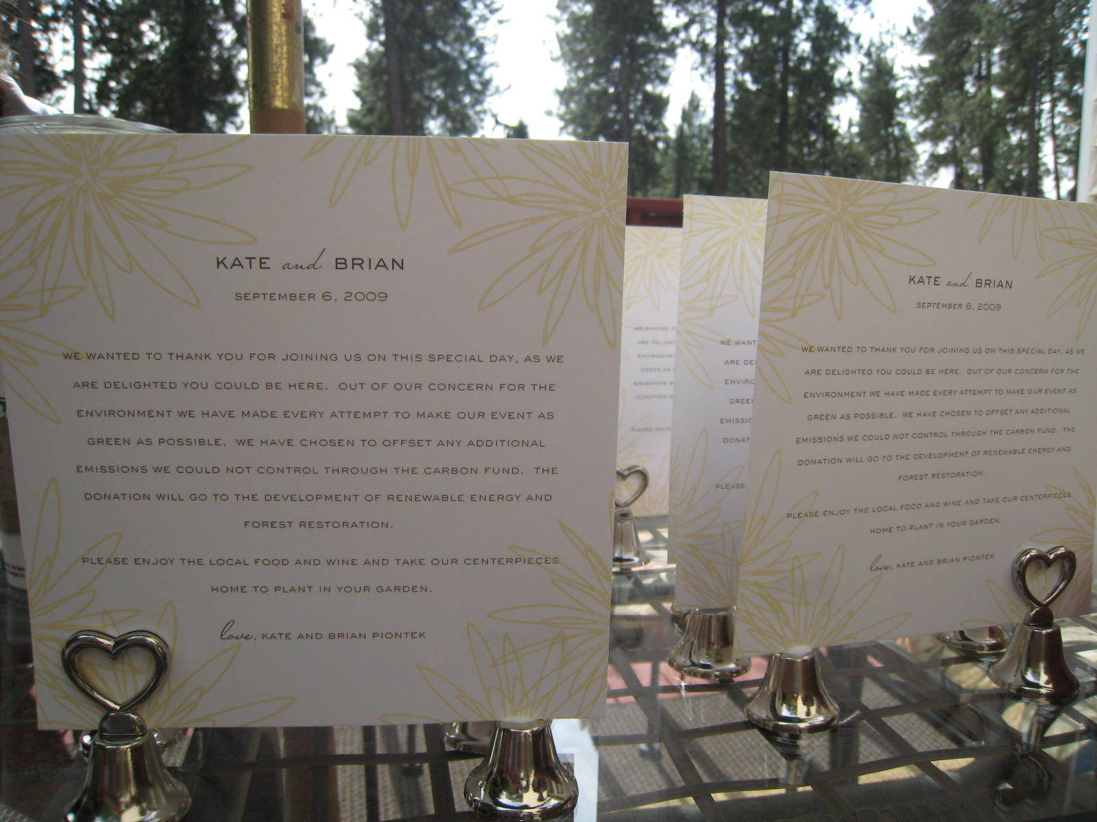 Reception, Flowers & Decor, Favors & Gifts, white, yellow, Favors, Carbon, Offset, Emerald weddings