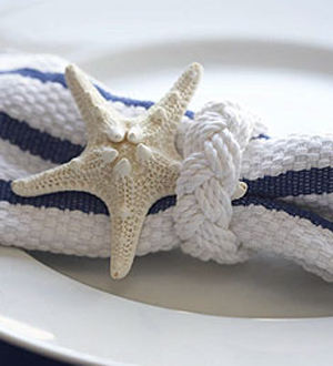 Ceremony, Inspiration, Reception, Flowers & Decor, white, yellow, orange, pink, red, purple, blue, green, brown, black, silver, gold, Beach, Beach Wedding Flowers & Decor, Nautical, Board, Starfish, Napkin ring, Favors by lisa, Fisherman's bracelet