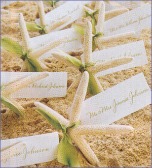 Ceremony, Inspiration, Reception, Flowers & Decor, Stationery, Destinations, white, yellow, purple, blue, green, brown, black, silver, gold, Beach, Invitations, Place Cards, Beach Wedding Flowers & Decor, Custom, Destination, Nautical, Board, Starfish, Favors by lisa, Placecard holders
