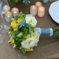 Flowers & Decor, white, ivory, yellow, blue, green, Bride Bouquets, Flowers, Bouquet, Floral verde llc, Stem wrap