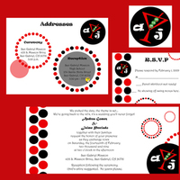 Stationery, red, black, Invitations, Martini, 1940s, Pencil, La design boutique, Skirts