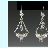 Jewelry, white, silver, Earrings, Wedding, Bridal, Chandelier, Everything angelic