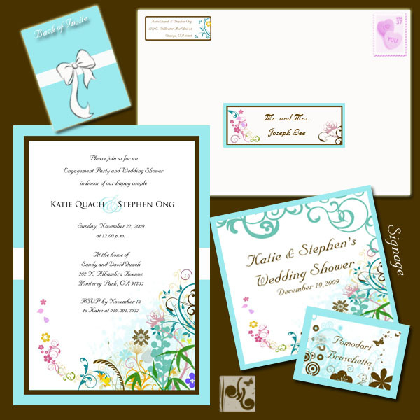 Stationery, white, blue, brown, Invitations, Food, Centerpiece, Tiffany, Labels, Address, Signage, La design boutique