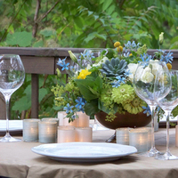 Flowers & Decor, white, ivory, yellow, blue, green, gold, Centerpieces, Flowers, Centerpiece, Floral verde llc