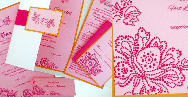 Stationery, white, pink, Modern Wedding Invitations, Invitations, Wedding, Tropical, Florida, Pocket, Folder, Eva petersen design - invitations that capture your personality
