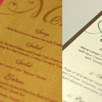 Flowers & Decor, Decor, Stationery, Paper, yellow, red, brown, gold, Invitations, Menu, Custom, Table, Metallic