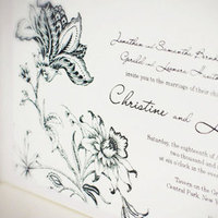 Flowers & Decor, Stationery, white, black, Garden, Classic Wedding Invitations, Invitations, Wedding, Traditional, Silk, Dupioni, Engraving