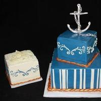 Cakes, white, blue, silver, gold, cake, Chocolate, Grooms, Stripes, Navy, Occasional cakes, Anchor