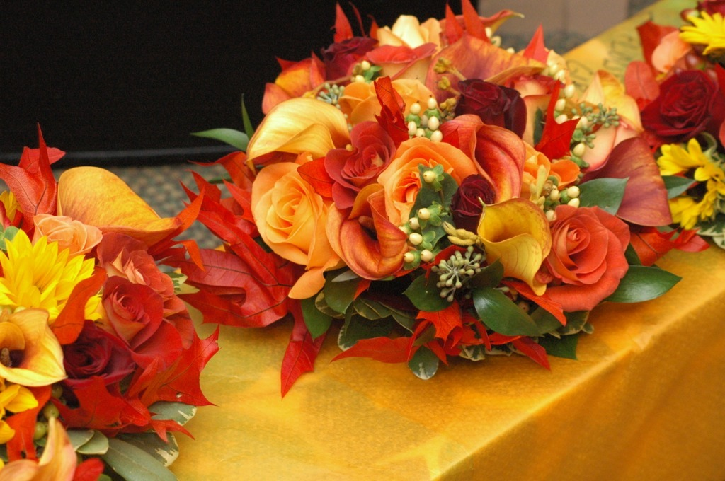 Ceremony, Inspiration, Flowers & Decor, Bridesmaids, Bridesmaids Dresses, Fashion, yellow, orange, red, green, brown, gold, Ceremony Flowers, Bridesmaid Bouquets, Flowers, Board, Flower Wedding Dresses