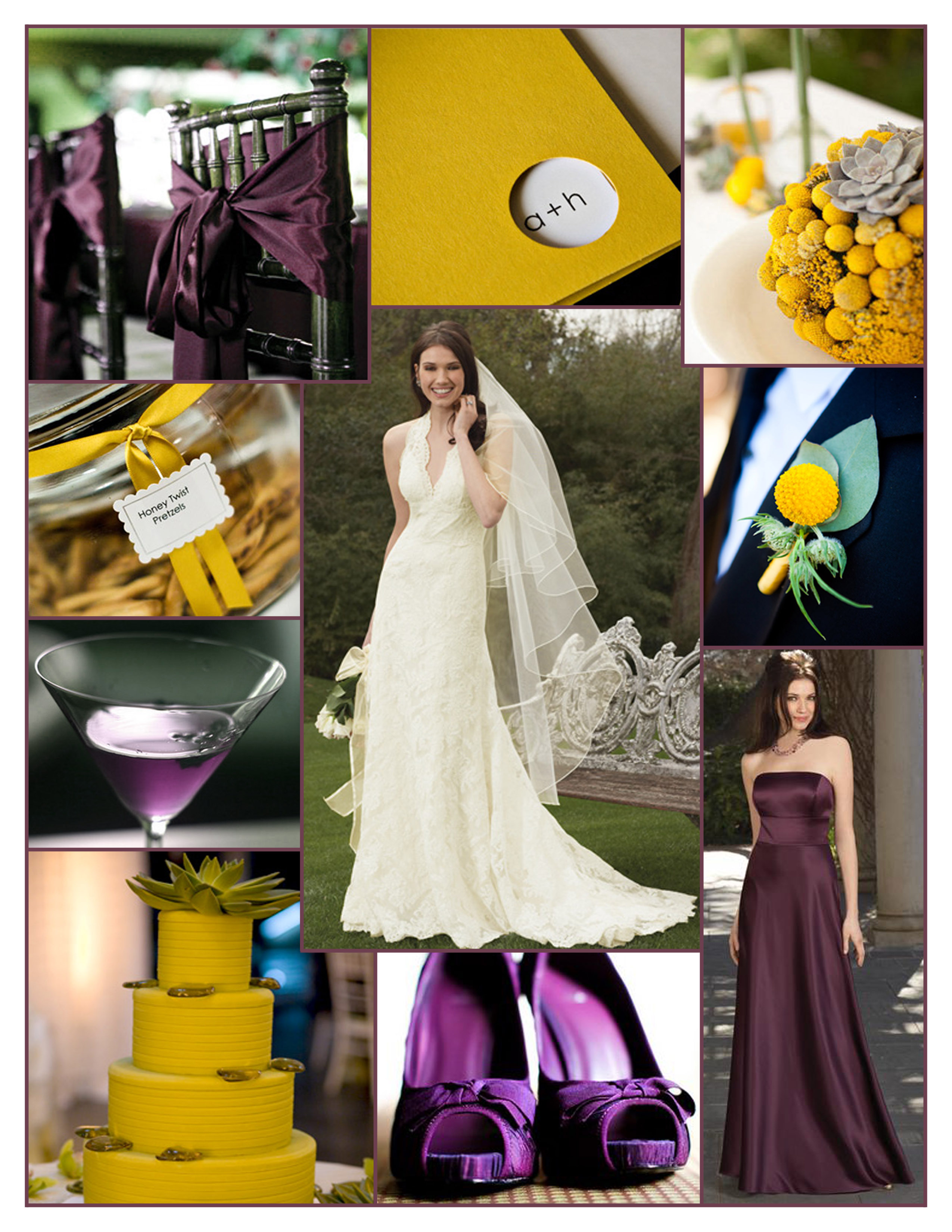 Inspiration, Flowers & Decor, Bridesmaids, Bridesmaids Dresses, Wedding Dresses, Stationery, Cakes, Fashion, yellow, purple, cake, dress, Bridesmaid Bouquets, Invitations, Flowers, Board, Watters, Mustard yellow, Plum purple, Flower Wedding Dresses