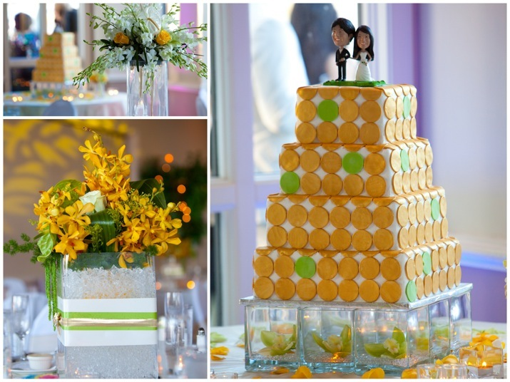 Reception, Flowers & Decor, Cakes, yellow, green, cake, Centerpieces, Flowers, Centerpiece, House, Restaurant, Summit, V3 weddings events