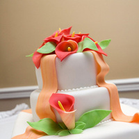 Cakes, orange, cake, Ribbon Wedding Cakes, Calla, Lilies, Ribbon, Lily, Ciao bella cakes
