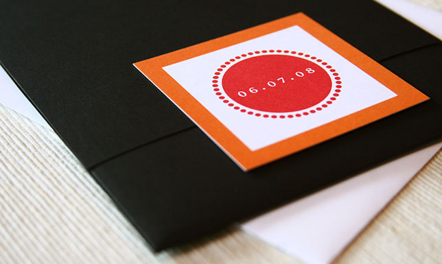 Stationery, orange, pink, black, invitation, Modern, Modern Wedding Invitations, Invitations, Pocketfold, Pocket, Maida vale