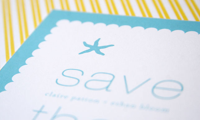 Stationery, Destinations, yellow, blue, Beach, Modern, Invitations, Save the date, Wedding, Destination, Starfish, Card, Maida vale