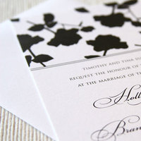 Stationery, white, black, invitation, Invitations, Wedding, Floral, Rose, Maida vale