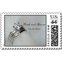 Stationery, white, silver, Wedding Rings, Classic, Invitations, Stamps, Postage stamps, A wedding collection by lora severson photography, Wedding postage stamp