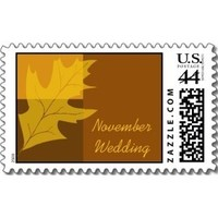 Stationery, orange, brown, gold, Fall, Invitations, Leaf, Stamps, Autumn, Leaves, Fall wedding, Seasonal, Fall leaves, Autumn leaves, November wedding, Autumn wedding, Postage stamps, A wedding collection by lora severson photography, Oak leaf, Wedding postage stamp