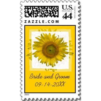 Flowers & Decor, Stationery, yellow, Invitations, Flower, Floral, Blossom, Stamps, Sunflower, Postage stamps, A wedding collection by lora severson photography, Sunflower wedding, Wedding postage stamp