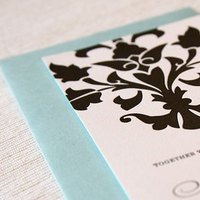 Stationery, blue, black, invitation, Invitations, Letterpress, Damask, Maida vale