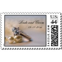 Stationery, white, silver, Classic, Invitations, Stamps, Wedding ring, Postage stamps, A wedding collection by lora severson photography, Wedding postage stamp