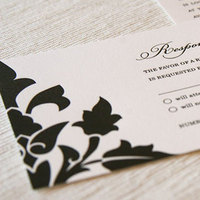 Stationery, blue, black, invitation, Invitations, Letterpress, Aqua, Turquoise, Damask, Maida vale