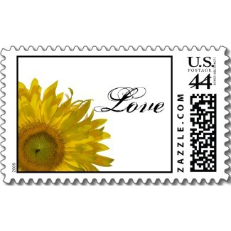 Flowers & Decor, Stationery, white, yellow, Invitations, Flower, Floral, Blossom, Love, Stamps, Sunflower, Postage stamps, A wedding collection by lora severson photography, Sunflower wedding, Wedding postage stamp