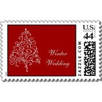 Stationery, white, red, Winter, Invitations, Stamps, Winter wedding, Seasonal, Postage stamps, A wedding collection by lora severson photography, Christmas tree, December wedding, Wedding postage stamp