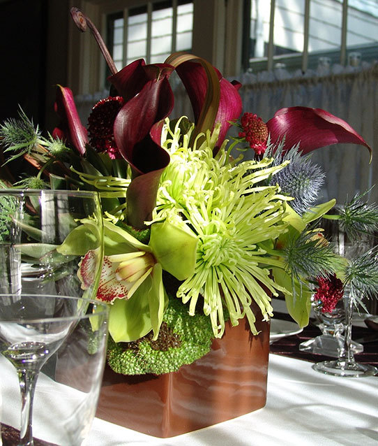 Flowers & Decor, blue, green, brown, Centerpieces, Flowers, Centerpiece, Contemporary, Flowersflowers