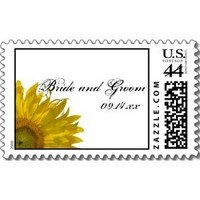 Flowers & Decor, white, yellow, Flower, Floral, Blossom, Stamps, Sunflower, Postage stamps, A wedding collection by lora severson photography, Sunflower wedding, Wedding postage stamp