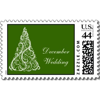 Stationery, green, Winter, Invitations, Stamps, Winter wedding, Seasonal, Postage stamps, A wedding collection by lora severson photography, Christmas tree, December wedding, Wedding postage stamp