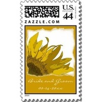 Flowers & Decor, Stationery, white, yellow, Invitations, Flower, Floral, Blossom, Stamps, Sunflower, Postage stamps, A wedding collection by lora severson photography, Sunflower wedding, Wedding postage stamp