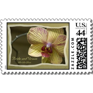 Flowers & Decor, Stationery, yellow, Invitations, Flower, Orchid, Floral, Elegant, Blossom, Stamps, Postage stamps, A wedding collection by lora severson photography, Wedding postage stamp