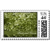 Flowers & Decor, Stationery, green, Invitations, Flower, Floral, Blossom, Hydrangea, Stamps, Light, Postage stamps, A wedding collection by lora severson photography, Celedon, Hydrangea wedding, Annabelle hydrangea, Wedding postage stamp