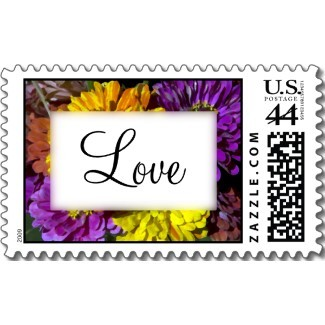 Flowers & Decor, Stationery, yellow, orange, pink, purple, Invitations, Flower, Floral, Colorful, Blossom, Love, Stamps, Postage stamps, A wedding collection by lora severson photography, Zinnia wedding, Zinnia, Wedding postage stamp