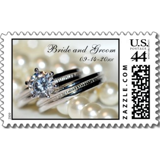 Stationery, white, silver, Classic, Invitations, Pearls, Stamps, Wedding ring, Postage stamps, A wedding collection by lora severson photography, Wedding postage stamp
