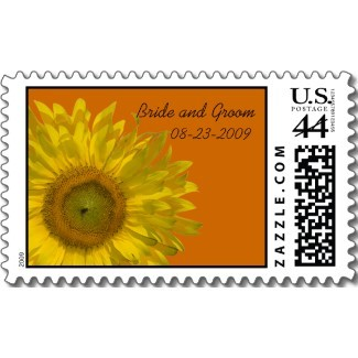 Flowers & Decor, Stationery, yellow, orange, Invitations, Flower, Floral, Stamps, Sunflower, Postage stamps, A wedding collection by lora severson photography, Sunflower wedding, Wedding postage stamp, Sunflower postage stamp