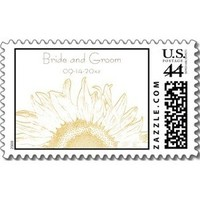 Flowers & Decor, Stationery, yellow, Invitations, Flower, Floral, Stamps, Sunflower, Postage stamps, A wedding collection by lora severson photography, Sunflower wedding, Wedding postage stamp, Sunflower postage stamp