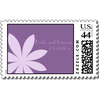 Flowers & Decor, Stationery, purple, Invitations, Flower, Floral, Daisy, Stamps, Contemporary, Postage stamps, A wedding collection by lora severson photography, Geometric, Wedding postage stamp