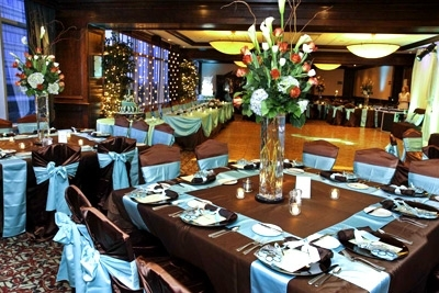 Reception, Flowers & Decor, blue, brown, And