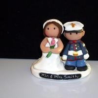Cakes, white, pink, blue, black, silver, gold, cake, Bride, Groom, Topper, Military, Navy, Marines, Army, Soldier, Ginger babies
