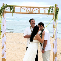 Ceremony, Flowers & Decor, Decor, white, Beach, Ceremony Flowers, Flowers, Beach Wedding Flowers & Decor, Arch, Bamboo, Katie b photography