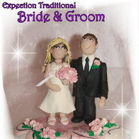 Reception, Flowers & Decor, Cakes, white, yellow, orange, pink, red, purple, blue, green, brown, black, silver, gold, cake, Bride Bouquets, Bride, Flowers, Groom, Grooms cake, Wedding cake, Wedding cake topper, Polymer clay