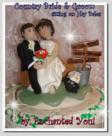 Ceremony, Reception, Flowers & Decor, Cakes, white, yellow, orange, pink, red, purple, blue, green, brown, black, silver, gold, cake, Ceremony Flowers, Flowers, Custom, Unique, Country, Wedding cake, Farm, Wedding cake topper, Personalised, Polymer caly, Enchantedyou