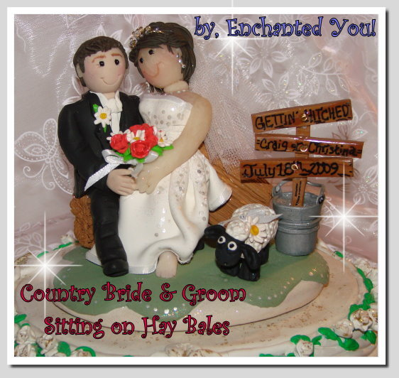 Ceremony, Reception, Flowers & Decor, Cakes, white, yellow, orange, pink, red, purple, blue, green, brown, black, silver, gold, cake, Ceremony Flowers, Flowers, Custom, Unique, Country, Wedding cake, Farm, Wedding cake topper, Personalised, Polymer caly